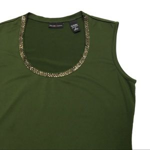 ❤️ NY&CO Green Career Shell With Gold Neckline